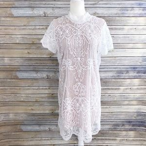 Skies Are Blue White Nude Lace Overlay Shift Dress